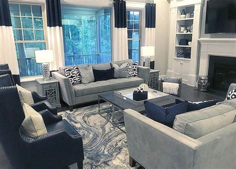 navy blue  gray decor   blue living room decor