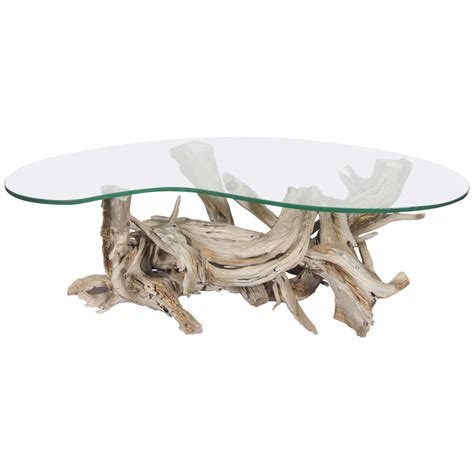 Midcentury Sculptural Glass And Driftwood Coffee Table At