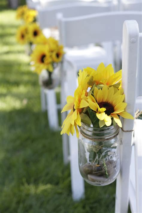 sunflower jar aisle decor footsteps https theknot com marketplace