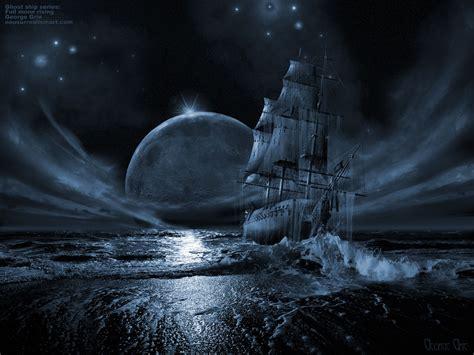ghost ship series full moon rising surreal art print poster book desktop wallpaper