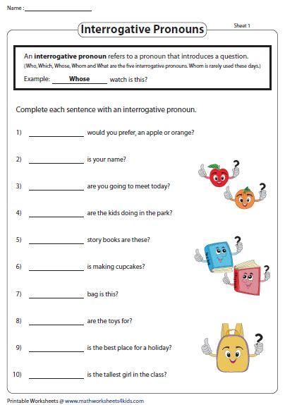 complete  sentences  interrogative pronouns