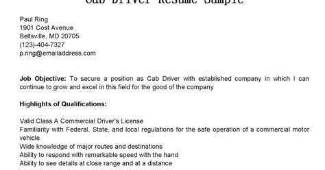 Taxi Driver Description For Resume by Driver Resumes Cab Driver Resume Sle