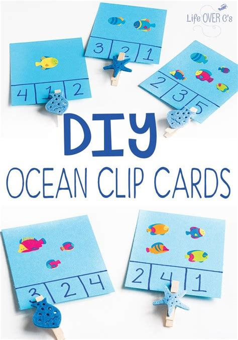 Diy Ocean Clip Cards For Counting  Ocean Themes, Motor Skills And Count