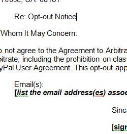 here is a able template for opting out of paypal arbitration clause