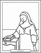 Nun Coloring Catholic Saints Saint Sister Female Nuns Sisters Catechism Carmelite Were Worksheets Saintanneshelper Dominican sketch template