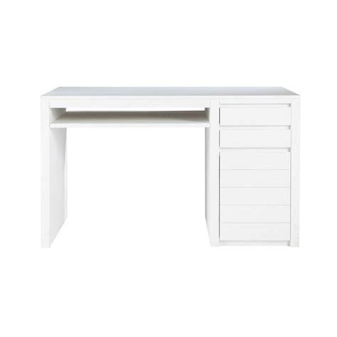 bureau bois massif blanc bureau en bois massif blanc l 130 cm white maisons du monde