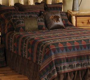 Luxury Cabin Bedding Cabin Bear King Size BedspreadBlack