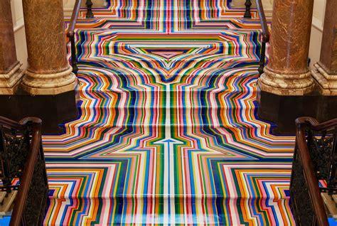 glass vases technicolor rainbow floor installations by jim lambie
