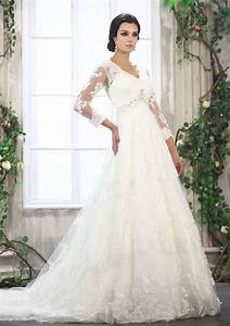 white lace a line wedding dress with three quarter With white lace wedding dresses