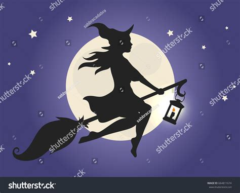 black silhouette beautiful glamour witch flying stock