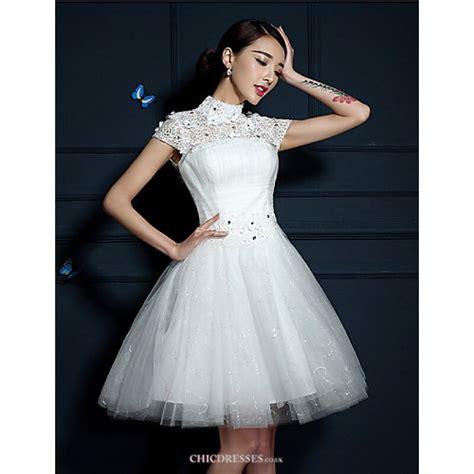shortmini wedding dress high neck tullecheap uk