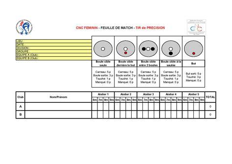 bureau boule tir de précision feuille de match page 001 comité de