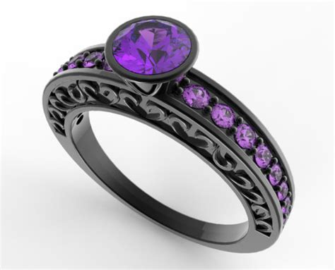 Women S Black Gold Amethyst Wedding Band-unique Ring