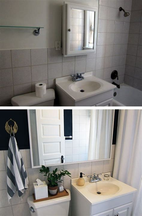 Rental Apartment Bathroom Ideas by Rental Bathroom Before After Makeover With Wall