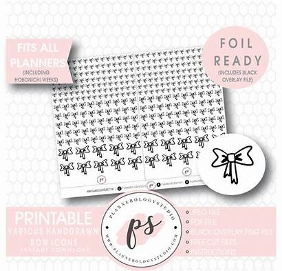 Handdrawn Bow Foil Planner Various Stickers Printable