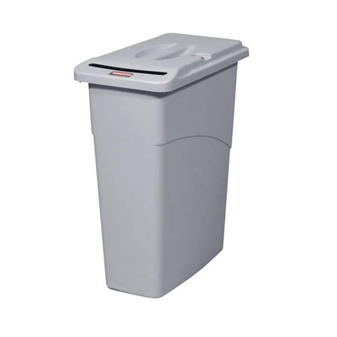 slim bathroom trash can with lid rubbermaid commercial products slim jim 23 gal grey