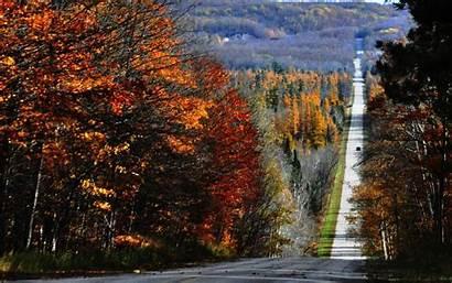 County Fall Michigan Northern Road Roads Emmet