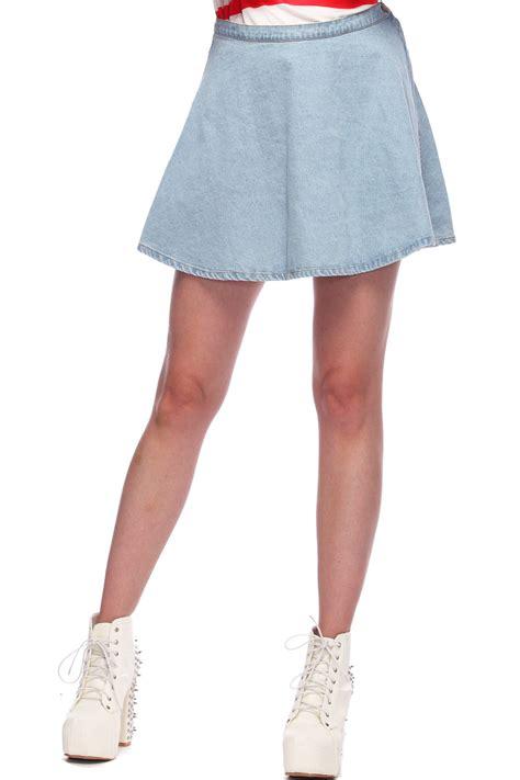 light blue jean skirt romwe high waist light blue denim skirt the latest