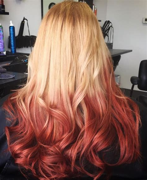 Reverse Ombre Blonde To Red Hair Pinterest Thick