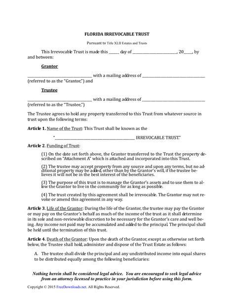 florida irrevocable living trust form pdf rtf