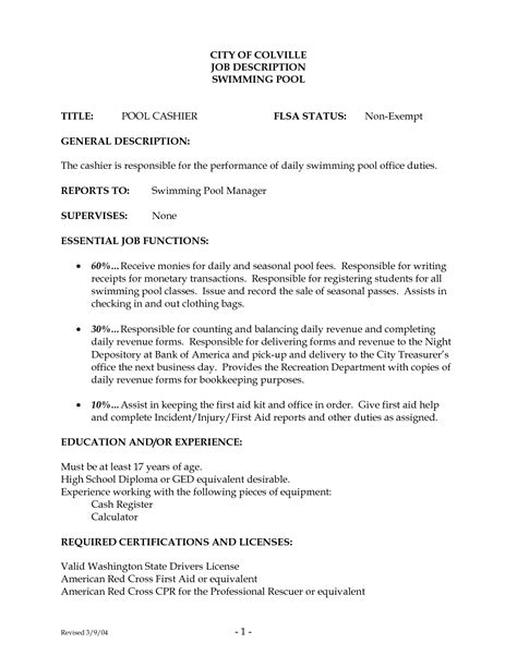 Description Resume by Description Cashier Resume Vvengelbert Nl