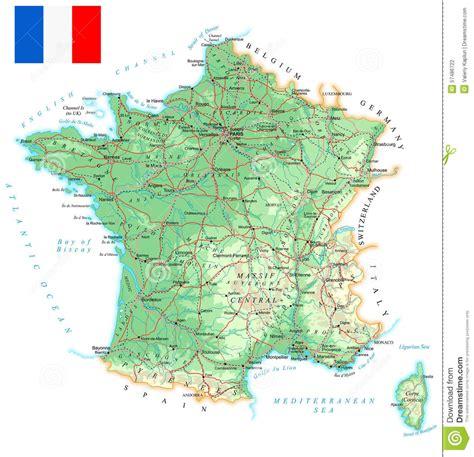 frankreich ausfuehrliche topographische karte