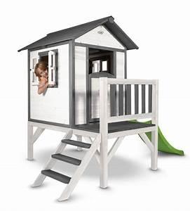 Kinder Holzhaus Garten : kinder spielhaus sunny lodge xl wei grau stelzenhaus holz rutsche terrasse ~ Frokenaadalensverden.com Haus und Dekorationen