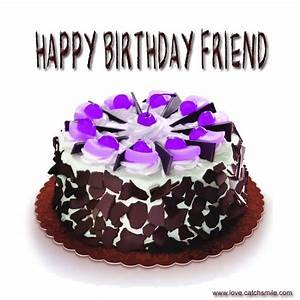 Happy Birthday Friend Cake Graphic