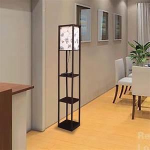 Diy floor lamp with shelves light fixtures design ideas for Diy shelf floor lamp