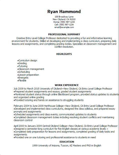 Professor Resume by 1 Entry Level College Professor Resume Templates Try