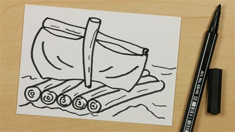 Cartoon Boat Easy To Draw by How To Draw A Raft Or Boat Easy Cartoon Doodle For Kids