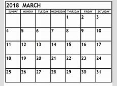 March 2018 Calendar Printable Template Free HD Images