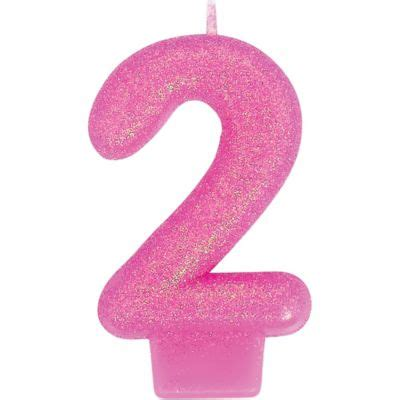 Glitter Bright Pink Number 2 Candle 3in  Party City