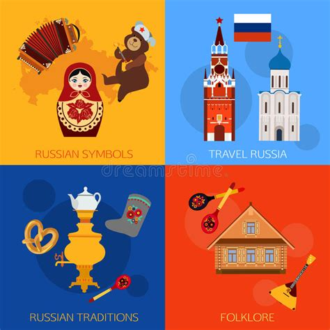 Set Of Russia Travel Compositions With Place For Text