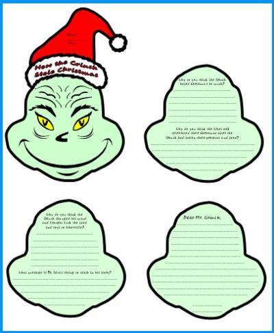 grinch template how the grinch stole lesson plans author dr seuss