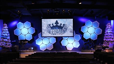 throwback glowing hives church stage design ideas