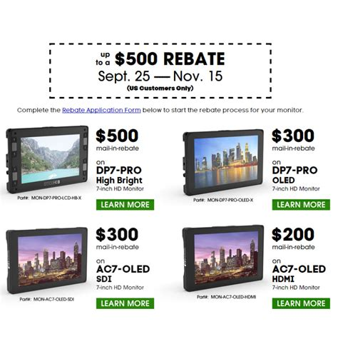 With Big Rebates by Smallhd Offers Big Rebates On Their Monitors Through