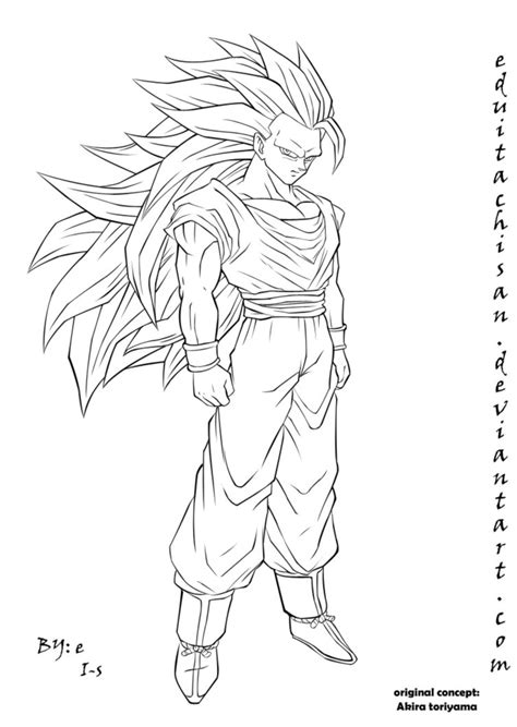 Goku Kleurplaat by Sketch Of Goku Ssj3 Coloring Pages