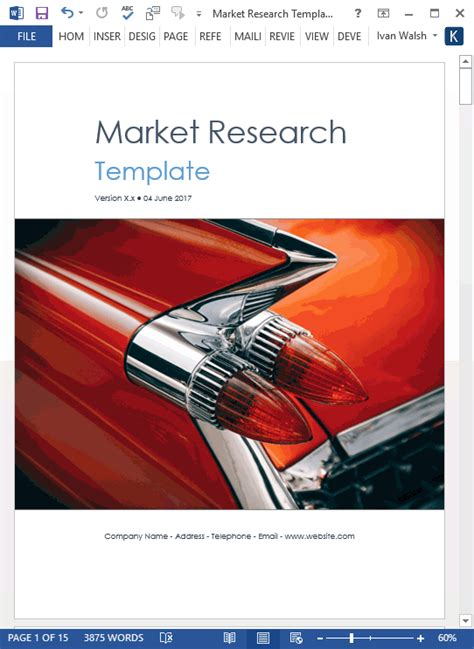 market research templates  word  excel