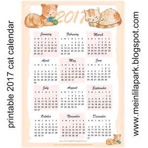 2017 Calendar Printable Free Cat