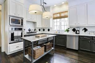 Above Kitchen Cabinet Decor by Lovely Black And White Kitchen Features Freestanding