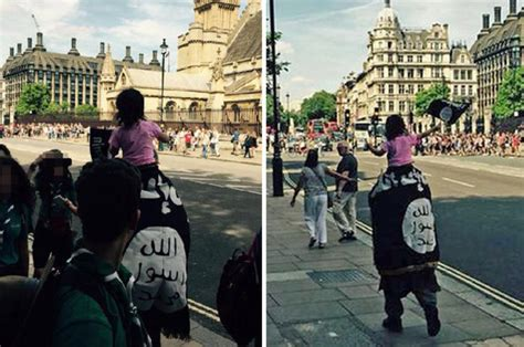 man wears isis flag  parliament  day