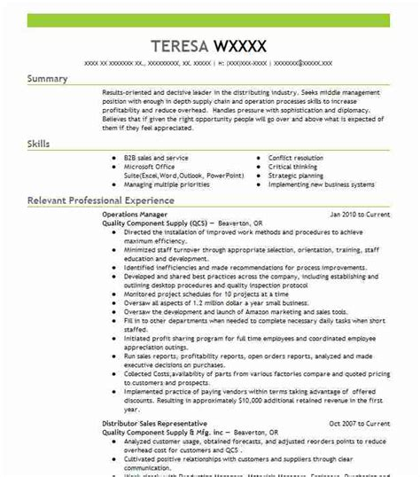 Operations Manager Resume by Operations Manager Objectives Resume Objective Livecareer