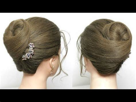 elegant high bun hairstyle easy updo  parties hair tutorial youtube easy bun hairstyles