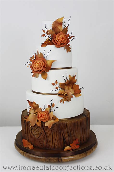 autumn rose wedding cake cakes  natalie porter