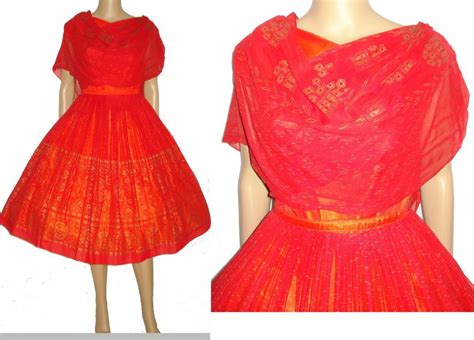 Vintage 1950s Dress . 50s Red Dress . Elinor Gay . Original . Designer From Carpet Cleaning Port Orange Red And Rope Mold Removal Pasco Wa For Sale At Home Depot How To Remove Dog Poop From Machine Clean Denver