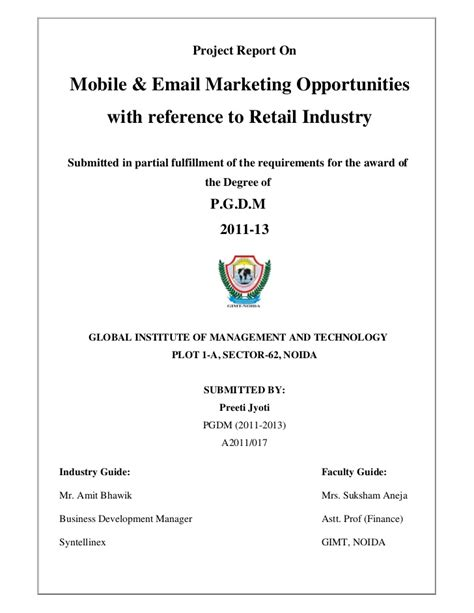 summer internship report email marketing and mobile marketing
