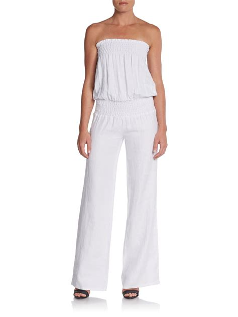 strapless jumpsuit fabulous jil smocked strapless jumpsuit in