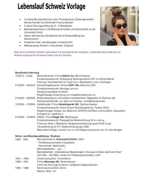 Lebenslauf Vorlage Schweiz by Lebenslauf Schweiz Vorlage Dokument Blogs