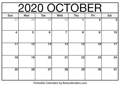 October 2020 calendar | blank printable monthly calendars
